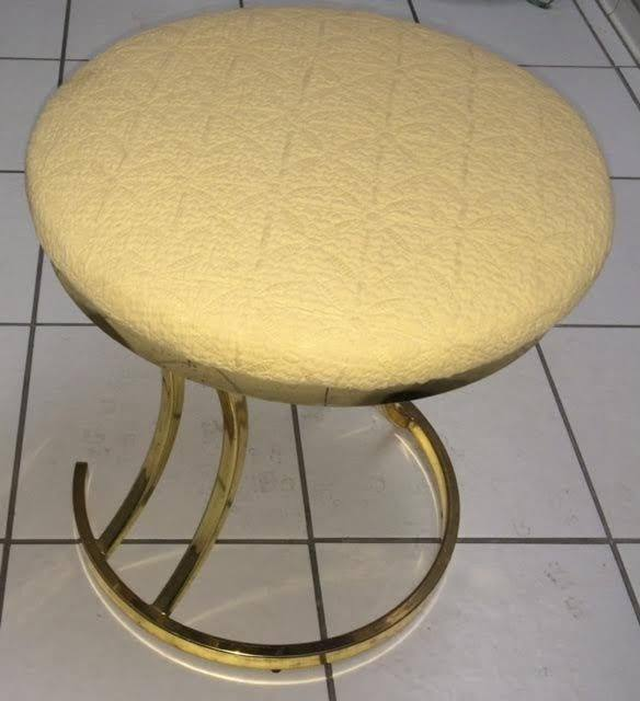 Stupendous Vanity Stool Round Brass Base With Mauve Dailytribune Chair Design For Home Dailytribuneorg