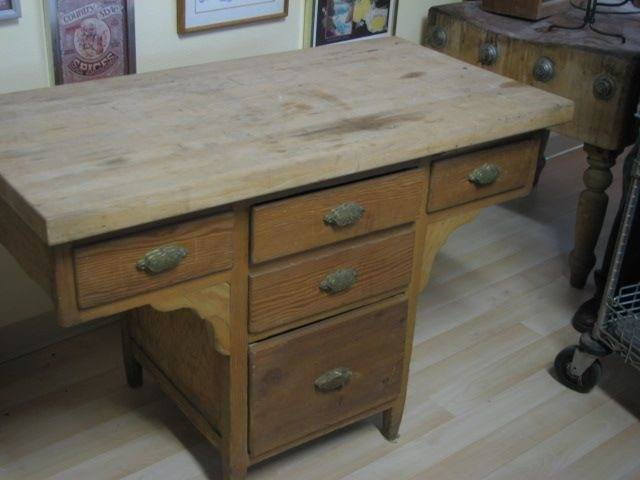 Butcher Block Table T Shape Five Drawers