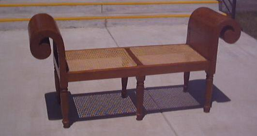 Superb Bench Natural Wood Finish Two Cane Panel Evergreenethics Interior Chair Design Evergreenethicsorg
