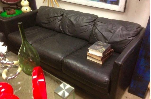 Sofa Black Leather Boxy Shape With Three