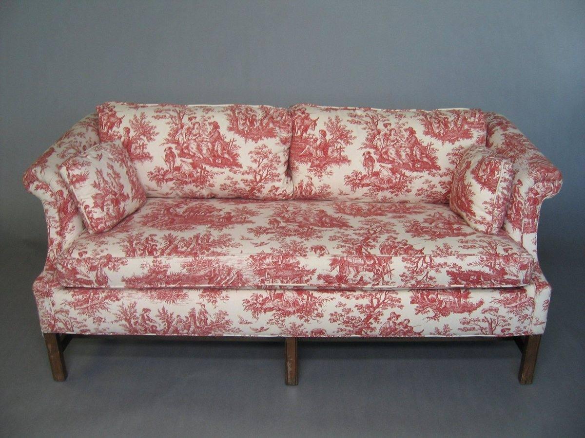 Sofa Loveseat Red White Toile De Jouy