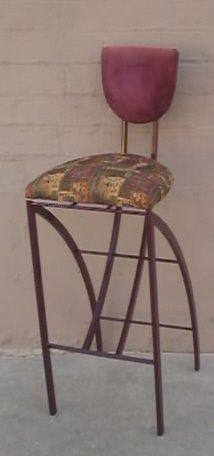 Bar Stool Burgundy Gold Multi Colored