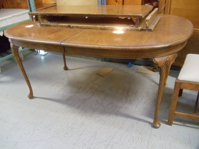 Dining Table Two Leaves Leg Carved At