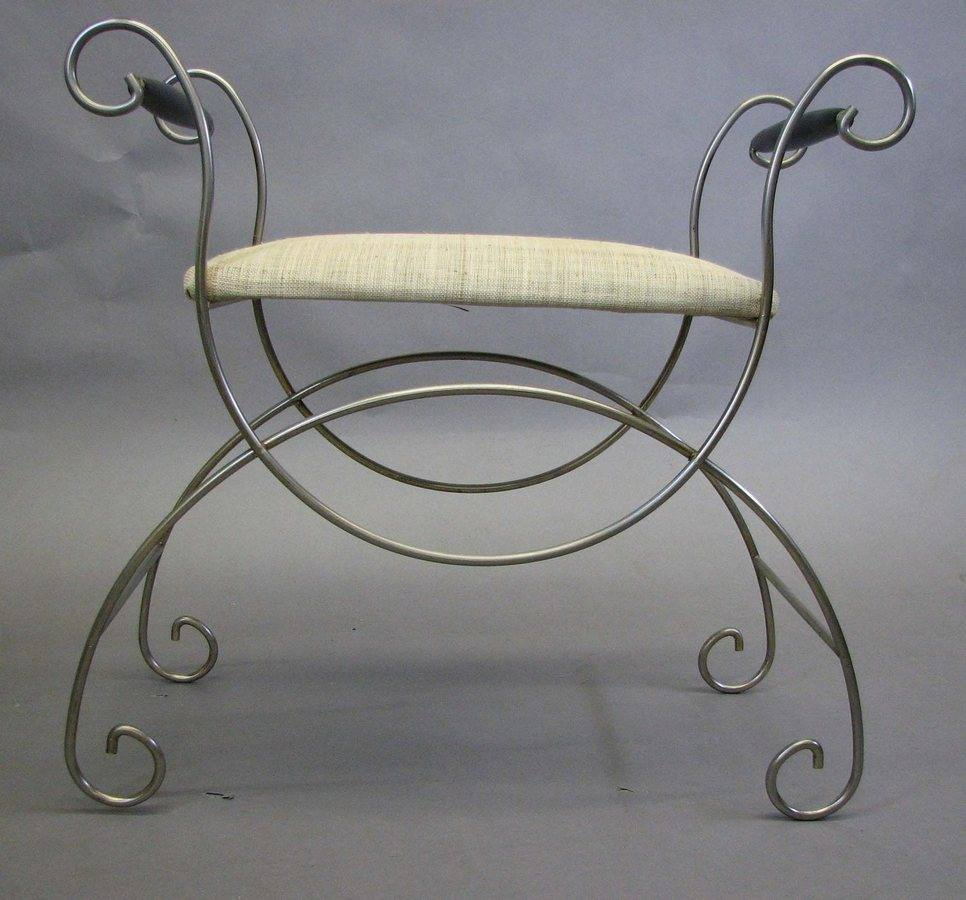 Fine Vanity Stool Curled Metal Base With Dailytribune Chair Design For Home Dailytribuneorg