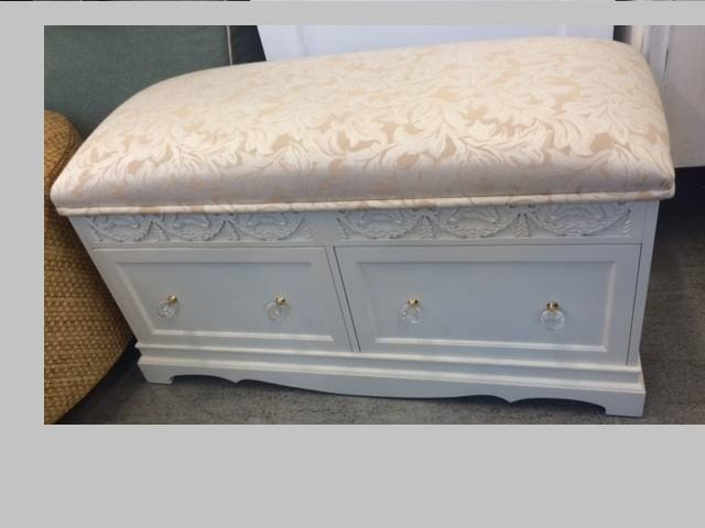 Bench white wood shabby chic upholstered psw White upholstered bench